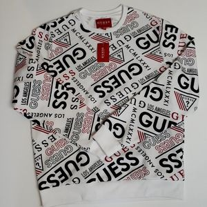 Guess Pullover Sweater with Red & Black Print (M)